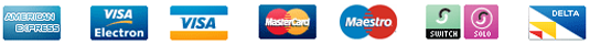 We accept: American express, VISA Electron, VISA, Master Card, Maestro, Switch, Solo, Delta